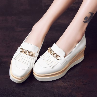 Womens Heels Spring Summer Creepers Patent Leather Casual Wedge Heel TasselWomens Pumps<br>Womens Heels Spring Summer Creepers Patent Leather Casual Wedge Heel Tassel<br><br>Available Size: 34-43<br>Embellishment: Chains<br>Heel Height: 6<br>Heel Height Range: Med(1.75-2.75)<br>Heel Type: Platform<br>Insole Material: PU<br>Lining Material: PU<br>Occasion: Casual<br>Outsole Material: Rubber<br>Package Contents: 1xShoes(pair)<br>Platform Height: 3<br>Pumps Type: Gladiator<br>Season: Summer, Spring/Fall<br>Shoe Width: Medium(B/M)<br>Toe Shape: Square Toe<br>Toe Style: Closed Toe<br>Upper Material: PU<br>Weight: 1.7600kg