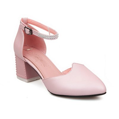 Women's Sandals Summer Chunky Heel Rhinestone Buckle Hollow-out