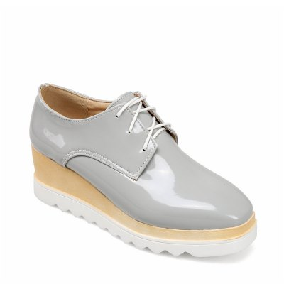 Buy GRAY 40 Women's Oxfords Spring Summer Creepers Casual Wedge Heel Lace-up Gray Silver Black White for $58.44 in GearBest store