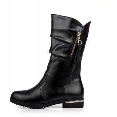 Womens Shoes Winter Comfort Casual Low Heel Zipper Mid-Calf BootsWomens Boots<br>Womens Shoes Winter Comfort Casual Low Heel Zipper Mid-Calf Boots<br><br>Boot Height: Mid-Calf<br>Boot Tube Circumference: 30<br>Boot Tube Height: 24<br>Boot Type: Fashion Boots<br>Closure Type: Zip<br>Embellishment: Ruched<br>Gender: For Women<br>Heel Height: 3<br>Heel Height Range: Low(0.75-1.5)<br>Heel Type: Low Heel<br>Insole Material: PU<br>Lining Material: PU<br>Outsole Material: Rubber<br>Package Contents: 1xShoes(pair)<br>Pattern Type: Solid<br>Platform Height: 1<br>Season: Winter<br>Shoe Width: Medium(B/M)<br>Toe Shape: Round Toe<br>Upper Material: PU<br>Weight: 2.2500kg
