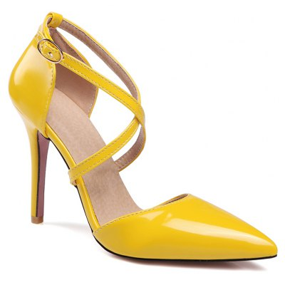 Women's Sandals Summer Club Shoes Patent Leather Wedding Stiletto Heel Buckle Black Yellow Pink White Beige Other
