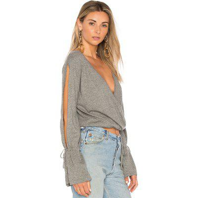 V-Neck Long Sleeve Pure Color Loose T-Shirt