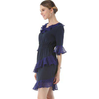 Fashion V Collar A Five-Point Flared DressWomens Dresses<br>Fashion V Collar A Five-Point Flared Dress<br><br>Dresses Length: Knee-Length<br>Elasticity: Micro-elastic<br>Embellishment: Ruffles<br>Fabric Type: Worsted<br>Material: Polyester<br>Neckline: V-Neck<br>Package Contents: 1 x Dress<br>Pattern Type: Solid<br>Season: Summer<br>Silhouette: A-Line<br>Sleeve Length: Half Sleeves<br>Sleeve Type: Flare Sleeve<br>Style: Fashion<br>Waist: Natural<br>Weight: 0.2500kg<br>With Belt: No
