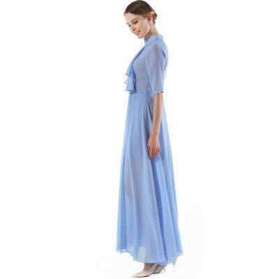 Medium Sleeve Pure Chiffon DressWomens Dresses<br>Medium Sleeve Pure Chiffon Dress<br><br>Dresses Length: Ankle-Length<br>Elasticity: Micro-elastic<br>Embellishment: Spliced<br>Fabric Type: Chiffon<br>Material: Polyester<br>Neckline: Round Collar<br>Package Contents: 1 x Dress<br>Pattern Type: Solid<br>Season: Summer<br>Silhouette: A-Line<br>Sleeve Length: Half Sleeves<br>Style: Cute<br>Waist: Natural<br>Weight: 0.5000kg<br>With Belt: No