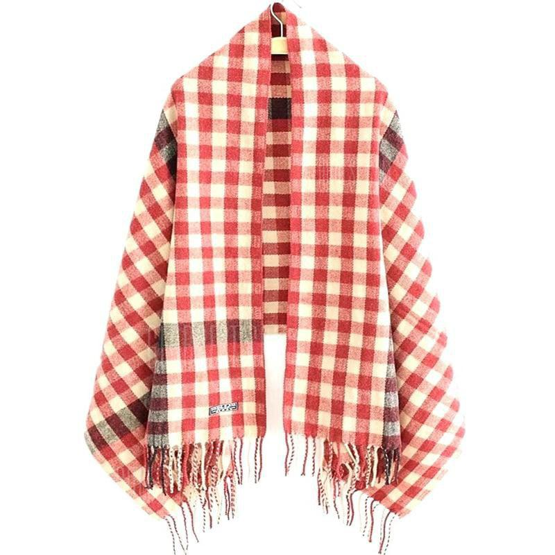 New Woman Acrylic Fibers Lattice Tassel Muffler Shawl