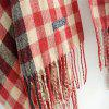 New Woman Acrylic Fibers Lattice Tassel Muffler Shawl - RED