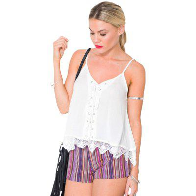 Europe and The United States New Lace Stitching Short Suspenders Sexy Cami Top