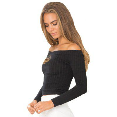 Buy BLACK L Europe and The United States Wool Knit Word Shoulder Sexy Slim Short Shirt for $25.00 in GearBest store
