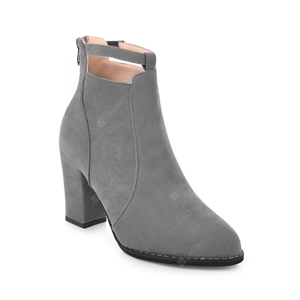 GRAY 40 Autumn and Winter New Korean Pointed Rough Boots