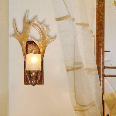 Brightness Creative American Country Deer Angle Wall Lamp for Corridor Bedroom Bar