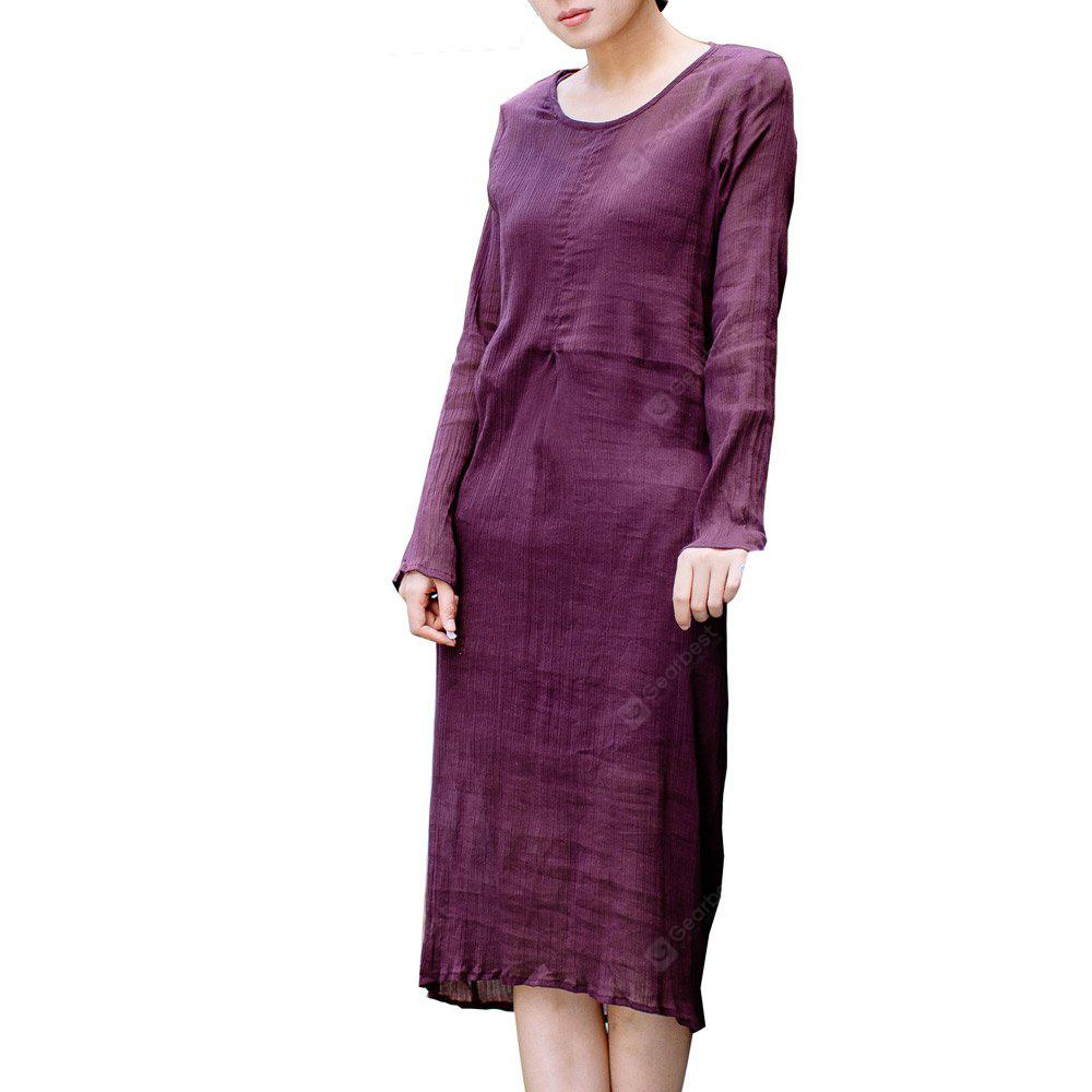 Women's Dress Retro Chic Solid Color O Neck Long Sleeve Loose Maxi Dress