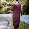 Women's Dress Retro Chic Solid Color O Neck Long Sleeve Loose Maxi Dress - PURPLE