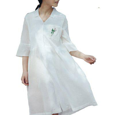 71134 Women's Shirt Dress Chic Elegant Solid Color Embroidery V Neck Flare Sleeve Double-Layer Dress