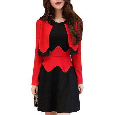 Women's 2Pcs  Set Chic Color Block Slim O Neck Tank Dress Long Sleeve Short Coat