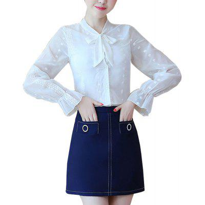 Women's 2Pcs Skirt Set Chic Slim Solid Color Flare Sleeve Blouse And Mini Denim Skirt
