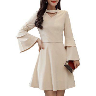 Women's Aline Dress Chic Elegant Solid Color V Neck Flare Long Sleeve Slim Midi Dress