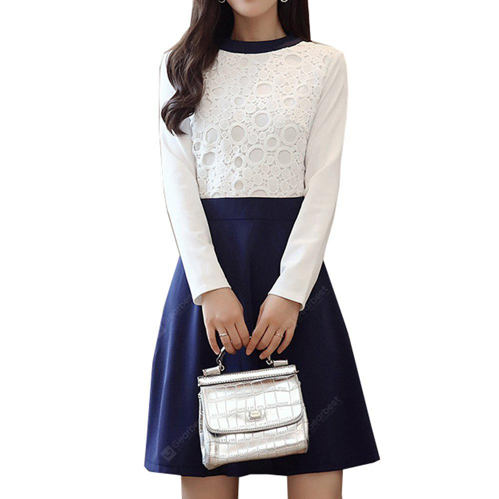 Women's Aline Dress Chic Elegant Color Block Lace Patchwork O Neck Long Sleeve Slim Midi Dress
