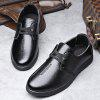 Men New Outdoor Walking Trend for Fashion Lace Up Black Leather Business Wedding Shoes - BLACK