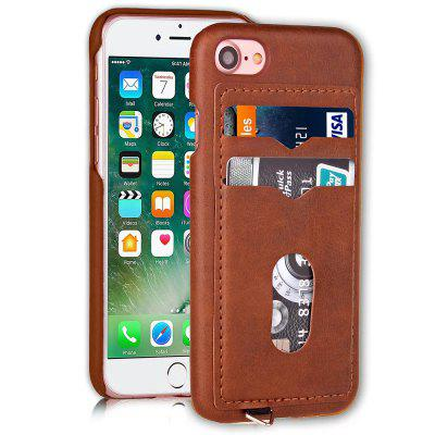 Card Holder Back Cover Solid Color Hard PU Leather Case for iPhone 8 / 7