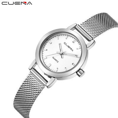 CUENA 6627G Luxury Women Quartz Watch Watche Waterproof Stainless Steel WatchbandWomens Watches<br>CUENA 6627G Luxury Women Quartz Watch Watche Waterproof Stainless Steel Watchband<br><br>Band material: Stainless Steel<br>Band size: 25 x 1.2cm<br>Brand: CUENA<br>Case material: Alloy<br>Clasp type: Hook buckle<br>Dial size: 2.9 x 2.9 x 0.9cm<br>Display type: Analog<br>Movement type: Quartz watch<br>Package Contents: 1 x Watch, 1 x Box<br>Package size (L x W x H): 16.00 x 8.00 x 3.00 cm / 6.3 x 3.15 x 1.18 inches<br>Package weight: 0.0910 kg<br>Product size (L x W x H): 25.00 x 2.90 x 0.90 cm / 9.84 x 1.14 x 0.35 inches<br>Product weight: 0.0360 kg<br>Shape of the dial: Round<br>Special features: Light, IP plating<br>Watch mirror: Mineral glass<br>Watch style: Classic, Business, Casual, Cool, Fashion, Lovely<br>Watches categories: Female table,Women<br>Water resistance: 30 meters