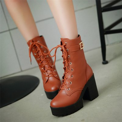 Lace Up Platform Chunky Heel Boots For WomenWomens Boots<br>Lace Up Platform Chunky Heel Boots For Women<br><br>Boot Height: Mid-Calf<br>Boot Tube Circumference: 30<br>Boot Tube Height: 16<br>Boot Type: Riding/Equestrian<br>Closure Type: Lace-Up<br>Gender: For Women<br>Heel Height: 10<br>Heel Height Range: High(3-3.99)<br>Heel Type: Chunky Heel<br>Package Contents: 1 x Shoes (pair)<br>Pattern Type: Solid<br>Platform Height: 3.5<br>Season: Winter<br>Shoe Width: Medium(B/M)<br>Toe Shape: Round Toe<br>Upper Material: PU<br>Weight: 1.3440kg