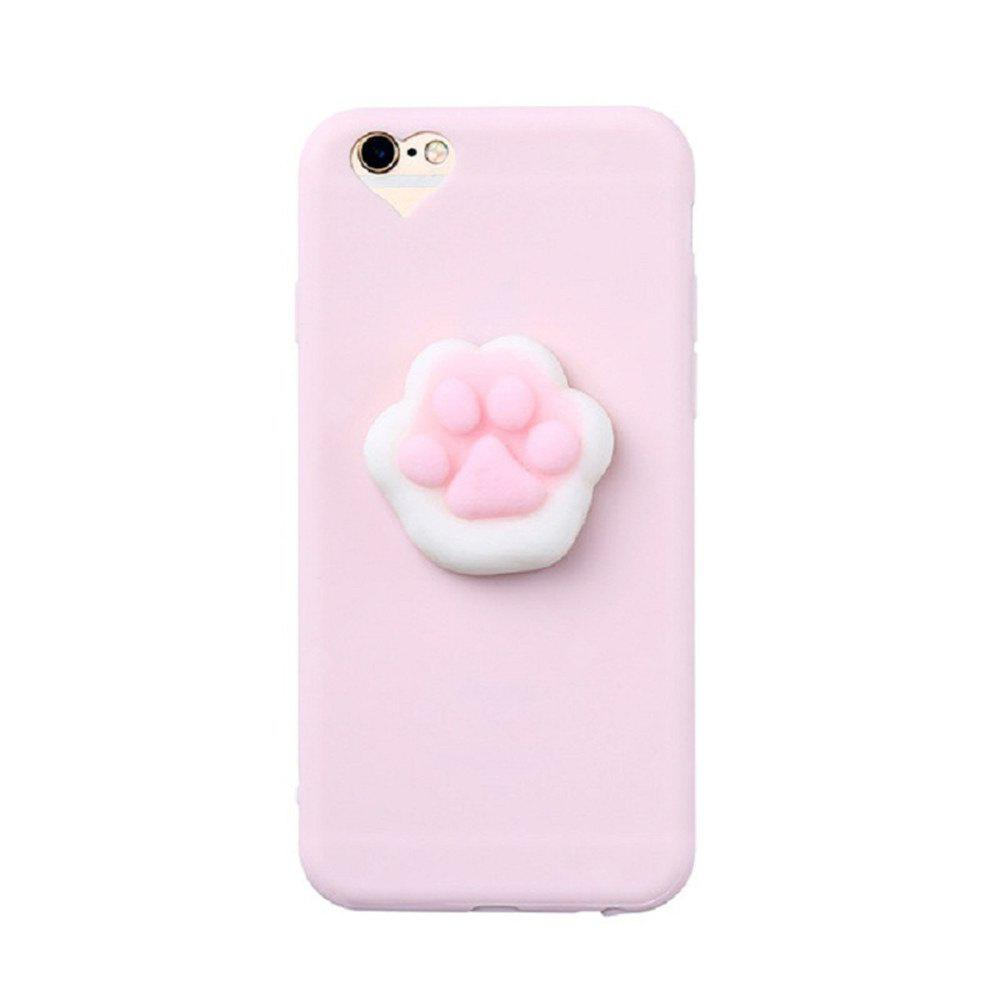 3D Squishy Cat Claw Case para iPhone 8 Plus Amasamiento Soft Silicone Finger Pinch Lindo