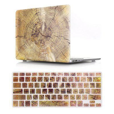 Computer Shell Laptop Case Keyboard Film Set for MacBook Air 13.3 Inch -3D Wood Grain