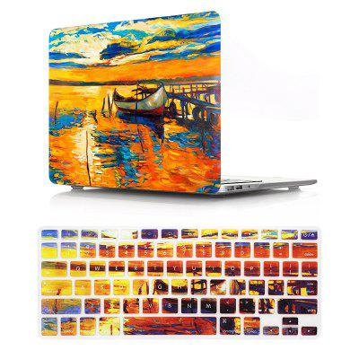 Computer Shell Laptop Case Keyboard Film Set for MacBook Air 13.3 Inch -3D Oil Painting - Dusk