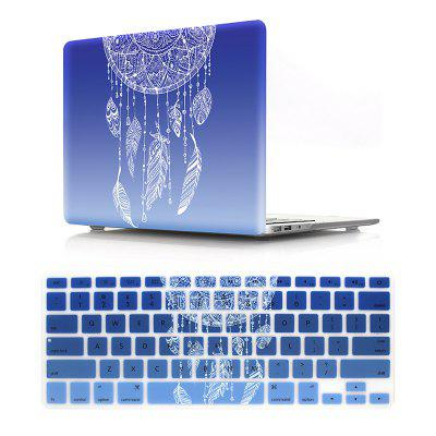 Computer Shell Laptop Case Keyboard Film Set for MacBook Pro 13.3 inch - 3D Dream Catcher Gradient Blue