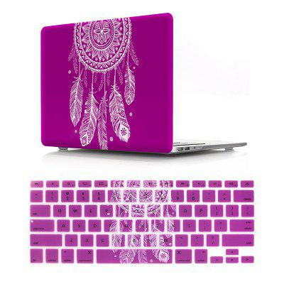 Computer Shell Laptop Case Keyboard Film Set for Macbook Retina 12 Inch - 3D Dream Catcher Purple