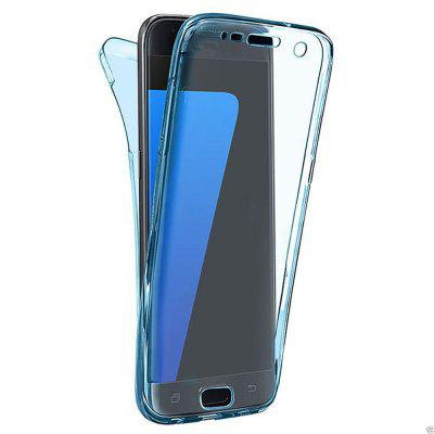 Buy BLUE 360 Degree Shockproof Front Back Cover Clear Full Body TPU Protective Case for Samsung Galaxy S7 Edge for $3.29 in GearBest store