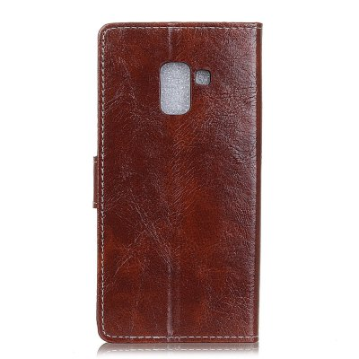 Genuine Quality Retro Style Crazy Horse Pattern Flip PU Leather Wallet Case for Samsung A5 2018 fashion vertical crazy horse pu leather flip case for iphone 4 4s black