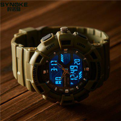 Synoke Outdoor Sports Multi-function Waterproof Watch Men Luminous WatchMens Watches<br>Synoke Outdoor Sports Multi-function Waterproof Watch Men Luminous Watch<br><br>Available Color: Army green,Black,Blue,White<br>Band material: PU<br>Band size: 26.5 x 2.2cm<br>Brand: Synoke<br>Case material: ABS<br>Clasp type: Pin buckle<br>Dial size: 5.4 x 5.4 x 1.6cm<br>Display type: Analog-Digital<br>Movement type: Digital watch<br>Package Contents: 1 x Watch<br>Package size (L x W x H): 12.50 x 8.00 x 9.00 cm / 4.92 x 3.15 x 3.54 inches<br>Package weight: 6.5400 kg<br>Product size (L x W x H): 26.50 x 5.40 x 1.60 cm / 10.43 x 2.13 x 0.63 inches<br>Product weight: 6.2600 kg<br>Shape of the dial: Round<br>Special features: Alarm Clock, Stopwatch<br>Watch mirror: Acrylic<br>Watch style: Outdoor Sports<br>Watches categories: Men<br>Water resistance: 50 meters