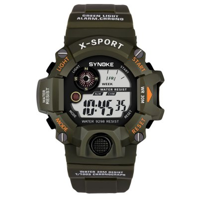 SYNOKE LED Luminous Waterproof Anti-Freezing Student Electronic WatchMens Watches<br>SYNOKE LED Luminous Waterproof Anti-Freezing Student Electronic Watch<br><br>Available Color: Army green,Black,Black and Yellow,Blue,Red<br>Band material: PU<br>Band size: 25.2 x 2.212cm<br>Brand: Synoke<br>Case material: ABS<br>Clasp type: Pin buckle<br>Dial size: 5.261 x 5.261 x 1.809cm<br>Display type: Digital<br>Movement type: Digital watch<br>Package Contents: 1 x Watch<br>Package size (L x W x H): 12.50 x 8.00 x 9.00 cm / 4.92 x 3.15 x 3.54 inches<br>Package weight: 0.0597 kg<br>Product size (L x W x H): 25.20 x 5.26 x 1.81 cm / 9.92 x 2.07 x 0.71 inches<br>Product weight: 0.0530 kg<br>Shape of the dial: Round<br>Special features: Stopwatch, Luminous, Alarm Clock<br>Watch mirror: Acrylic<br>Watch style: Outdoor Sports<br>Watches categories: Men