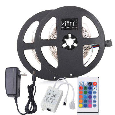 HML 5M 24W RGB SMD2835 300LEDs Strip Light with IR 24 Keys Remote Controller and DC Adapter 2PCS 100 - 240V