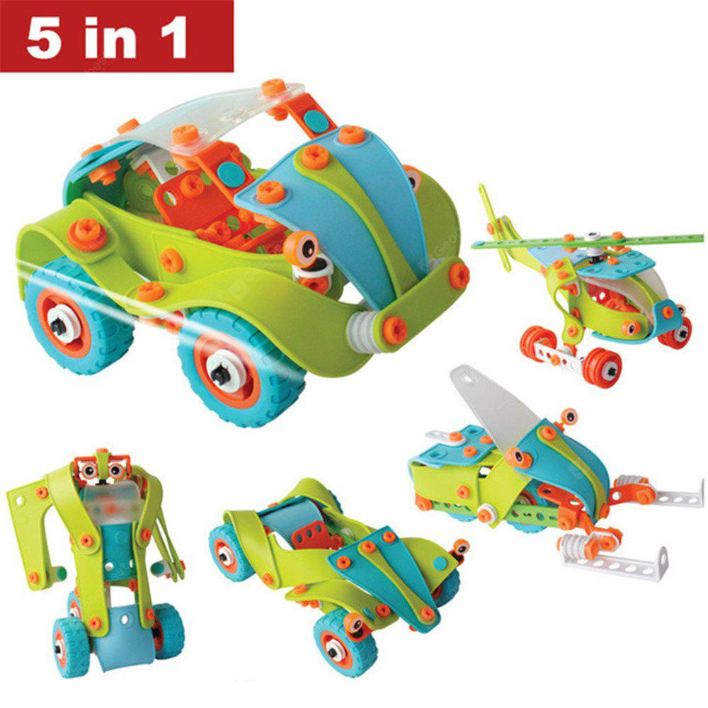 Creative DIY 5 In 1 Soft Plastic Nuts Assembled Toy Car Robot Airplane Model Building Blocks Puzzle Toy for Children Education