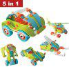 Creative DIY 5 In 1 Soft Plastic Nuts Assembled Toy Car Robot Airplane Model Building Blocks Puzzle Toy for Children Education - COLORMIX