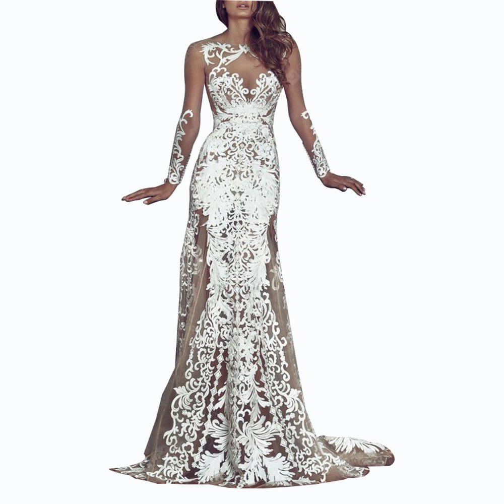 Sexy Lace Hollow Out Evening Dress