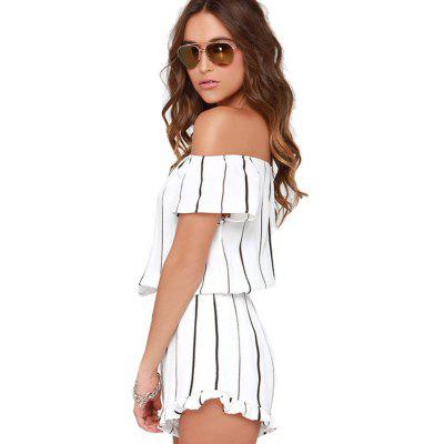 Womens  Slash Neck Short Sleeve Ruffled Hem Striped PlaysuitsJumpsuits &amp; Rompers<br>Womens  Slash Neck Short Sleeve Ruffled Hem Striped Playsuits<br><br>Elasticity: Elastic<br>Fabric Type: Broadcloth<br>Fit Type: Regular<br>Material: Polyester<br>Package Contents: 1 x Jumpsuit<br>Package weight: 0.2000 kg<br>Pattern Type: Striped<br>Style: Fashion<br>With Belt: No
