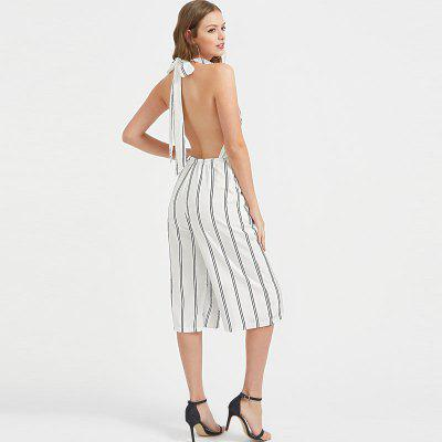 Womens Halter Neck Striped Pattern Cropped JumpsuitsJumpsuits &amp; Rompers<br>Womens Halter Neck Striped Pattern Cropped Jumpsuits<br><br>Elasticity: Elastic<br>Fabric Type: Broadcloth<br>Fit Type: Regular<br>Material: Polyester<br>Package Contents: 1 x Jumpsuit<br>Package weight: 0.2500 kg<br>Pattern Type: Striped<br>Style: Fashion<br>With Belt: No