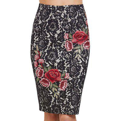 Women's Sheath  Floral Embroidery Color Block Midi Lace Skirt