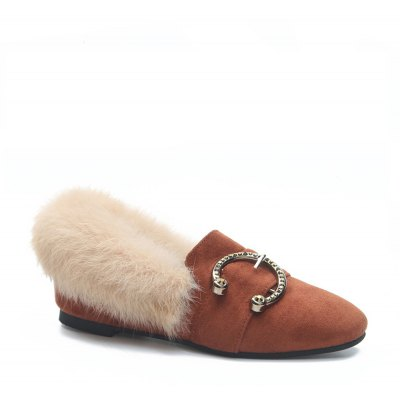 Women Fashion Casual Low Heel Roman Flat Single Holiday Shoes with Fur