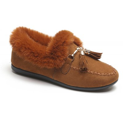 Women Autumn Winter Fashion Casual Warm Thick Soft Comfortable Roman Flat Low Fur Shoes
