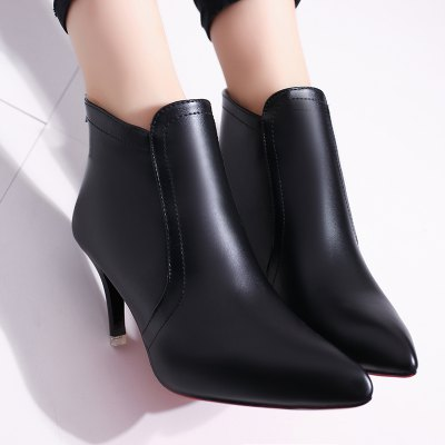 Pointed Short All-match Shoes with ZipperWomens Boots<br>Pointed Short All-match Shoes with Zipper<br><br>Boot Height: Ankle<br>Boot Type: Work &amp; Safety<br>Closure Type: Zip<br>Gender: For Women<br>Heel Type: Stiletto Heel<br>Package Contents: 1 X Shoes (pair)<br>Pattern Type: Solid<br>Season: Spring/Fall, Winter<br>Toe Shape: Pointed Toe<br>Upper Material: PU<br>Weight: 0.5280kg