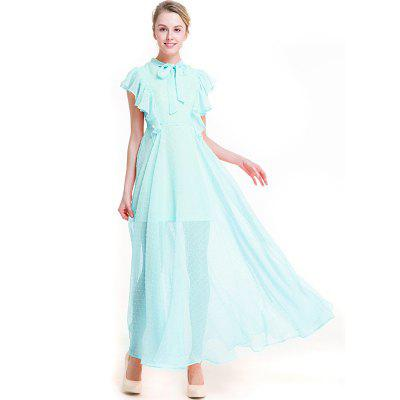 Chiffon Dress with Lotus Leaf LaceMaxi Dresses<br>Chiffon Dress with Lotus Leaf Lace<br><br>Dresses Length: Ankle-Length<br>Elasticity: Micro-elastic<br>Embellishment: Lace<br>Fabric Type: Chiffon<br>Material: Polyester<br>Neckline: V-Neck<br>Package Contents: 1 xDress<br>Pattern Type: Solid<br>Season: Summer<br>Silhouette: A-Line<br>Sleeve Length: Sleeveless<br>Style: Cute<br>Waist: Natural<br>Weight: 0.3000kg<br>With Belt: No