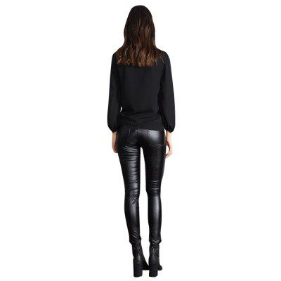 Buy Street Beat OL Temperament Deep V Solid Color Lantern Sleeve Long-Sleeved Shirt Ladies Shirt BLACK XL for $19.30 in GearBest store