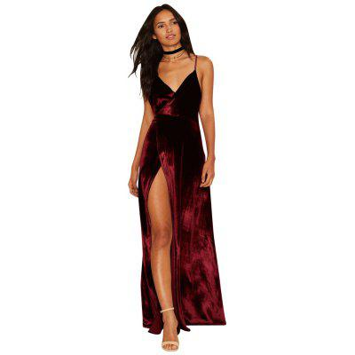 High Quality Velvet Sexy Cross Straps with A Dorsal Side Slit Dress
