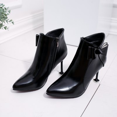 Europe and The United States Fall and Winter New Pointy Thin with A Bow Martin BootsWomens Boots<br>Europe and The United States Fall and Winter New Pointy Thin with A Bow Martin Boots<br><br>Boot Height: Ankle<br>Boot Type: Fashion Boots<br>Closure Type: Zip<br>Embellishment: Bow<br>Gender: For Women<br>Heel Height: 7<br>Heel Height Range: High(3-3.99)<br>Heel Type: Stiletto Heel<br>Insole Material: PU<br>Lining Material: PU<br>Outsole Material: Rubber<br>Package Contents: 1?Shoes(pair)<br>Pattern Type: Solid<br>Season: Spring/Fall, Winter<br>Shoe Width: Medium(B/M)<br>Toe Shape: Pointed Toe<br>Upper Material: Flock<br>Weight: 1.8000kg