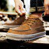 Men Business Lace Up Sport Leather Sneakers Outdoor Jogging Walking Athletic Shoes - MARROM ESCURO