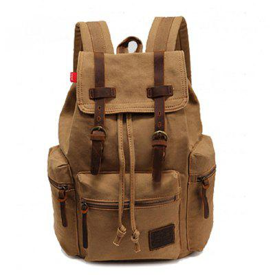 Buy KHAKI AUGUR Fashion Men Backpack Vintage Canvas School Bag Travel Large Capacity for $33.99 in GearBest store